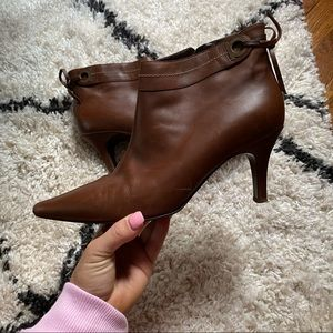 Ferragamo Brown Leather Pointed Toe Booties 10